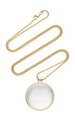Noor Fares Khaalee Large Rock Crystal Quartz Amulet In Yellow Gold And White Mother Of Pearl Backing