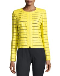 Lafayette 148 New York Catrice Striped Leather Jacket Maize Yellow
