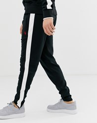 Polo Ralph Lauren Slim Fit Zipped Hem Track Pants With Side Tape In Black