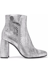 Stella Mccartney Paden Metallic Snake Effect Faux Leather Ankle Boots Silver