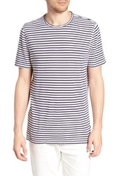 Ag Jeans Theo Striped Cotton And Linen T Shirt Natural Navy