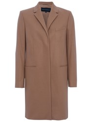 French Connection Platform Felt Long Sleeve Classic Coat Indian Tan