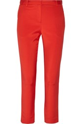 Tibi Cropped Stretch Faille Tapered Pants Tomato Red