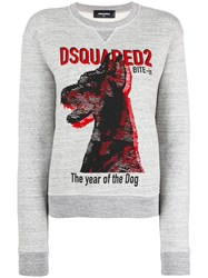 Dsquared2 The Year Of The Dog Print Sweatshirt Cotton Grey