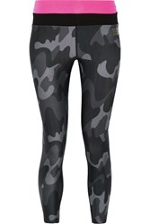 Monreal London Cropped Camouflage Print Stretch Leggings Black