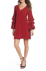 Charles Henry Women's Tiered Ruffle Sleeve Dress Garnet