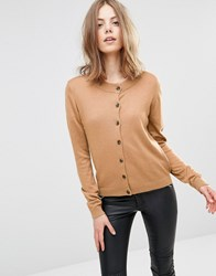 Minimum Milla Round Neck Wool And Cashmere Mix Cardigan N A Brown