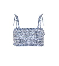 Tory Burch Costa Printed Bikini Top Blue