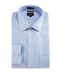 Neiman Marcus Trim Fit Wrinkle Free Dobby Check Dress Shirt Light Blue