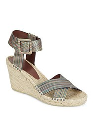 Vince Stefania Striped Leather Espadrille Wedges Multi
