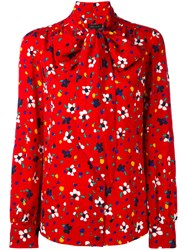 Marc Jacobs Floral Print Blouse Women Silk 8 Red