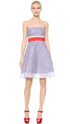Giambattista Valli Strapless Macrame Dress Purple