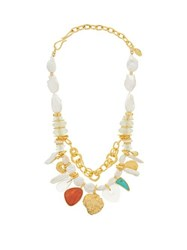 Lizzie Fortunato Seascape Pearl And Gold Plated Charm Necklace Multi