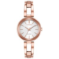 Citizen Women's Axiom Eco Drive Bracelet Strap Watch Rose Gold White Em0633 53A