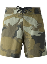 Woolrich Camouflage Print Swim Shorts
