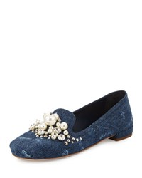 Miu Miu Pearly Jeweled Denim Flat Bleu