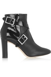 Jimmy Choo Dee Leather And Patent Leather Ankle Boots Black