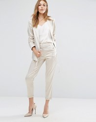 Vila Sateen Cropped Trousers Silver