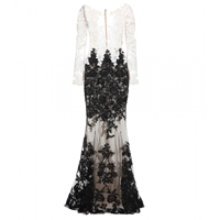 Zuhair Murad Sequin Silk Chiffon Dress White Black