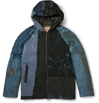 By Walid Patchwork Silk Hooded Jacket Blue