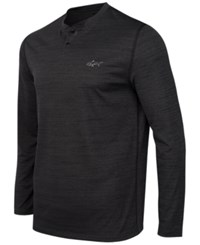 Greg Norman For Tasso Elba Men's Big And Tall Space Dyed Performance Henley Only At Macy's Pirate Black