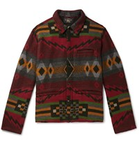 Rrl Brushed Cotton And Wool Blend Jacquard Overshirt Multi