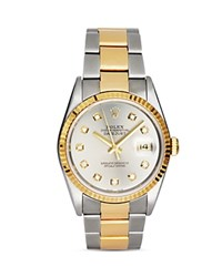 Pre Owned Rolex Stainless Steel And 18K Gold Two Tone Datejust Watch With Slate Dial And Diamonds 36Mm Silver Gold