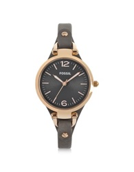 Fossil Georgia Three Hand Smoke And Rose Leather Watch Brown