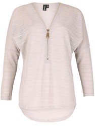 Izabel London Lace Knit Batwing Top With Oversized Zip Detail Light Grey
