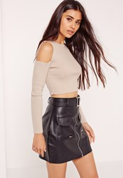 Missguided Cold Shoulder Crop Top Nude Grey