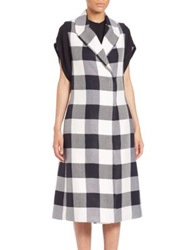 Tome Plaid Sleeveless Trench Coat White Black