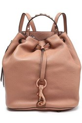 Rebecca Minkoff Woman Studded Pebbled Leather Backpack Brown