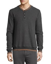 Psycho Bunny Long Sleeve Henley W Contrast Trim Granite