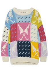 Topshop Unique Lindbergh Oversized Intarsia Cotton Sweater Pink