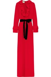 Gucci Velvet Trimmed Ruffled Stretch Crepe Gown Red