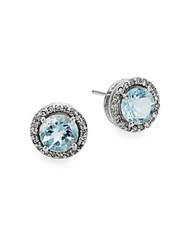 Effy Aquamarine 0.2 Tcw Diamond And 14K White Gold Stud Earrings