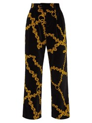 Aries Wide Leg Chain Print Velvet Trousers Black Multi