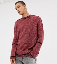 Heart And Dagger Oversized Jumper With Contrast Ringer Red