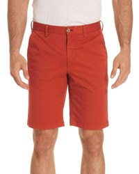 Robert Graham Pioneer Cotton Twill Flat Front Shorts Rust