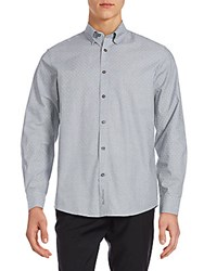 Ben Sherman Cotton Ditsy Patterned Shirt Light Grey
