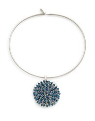 Kenneth Cole Shiny Silver Items Crystal Woven Pendant Necklace Blue