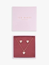 Ted Baker Swarovski Crystal Heart Pendant Necklace And Stud Earrings Jewellery Gift Set Rose Gold