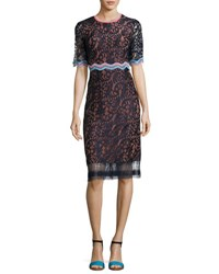 Peter Pilotto Half Sleeve Lace Sheath Dress Navy