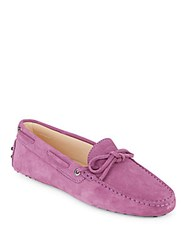 Tod's Moc Toe Leather Boat Shoes Pink