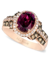 Le Vian Raspberry Rhodolite Garnet Chocolate And White Diamond Oval Ring 2 3 4 Ct. T.W. In 14K Rose Gold
