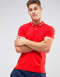 Tommy Hilfiger Denim Stretch Pique Polo Slim Fit Icon Stripe Collar In Red High Risk Red