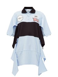 Burberry Oversized Draped Cotton Jersey Polo Shirt Dress Light Blue