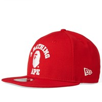 A Bathing Ape New Era College Snapback Cap Red