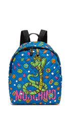 Moschino Printed Backpack Print Blue