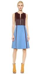 Derek Lam Pleated Leather Combo Dress Lake